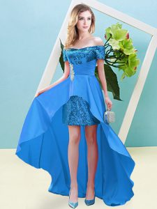 Traditional Off The Shoulder Short Sleeves Lace Up Homecoming Dress Baby Blue Elastic Woven Satin and Sequined