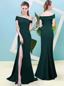 Dark Green Wedding Guest Dresses Prom and Party and Wedding Party with Ruching Off The Shoulder Sleeveless Zipper