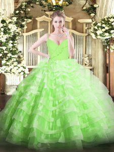 Top Selling Sleeveless Organza Floor Length Zipper Sweet 16 Quinceanera Dress in with Ruffled Layers