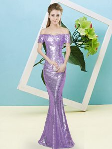Deluxe Off The Shoulder Short Sleeves Zipper Prom Dresses Lilac Sequined