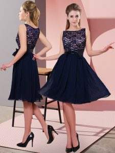 Trendy Black Empire Chiffon Scoop Sleeveless Lace and Bowknot Knee Length Side Zipper Prom Dress