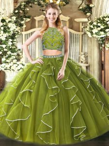 Deluxe Beading and Ruffles Quince Ball Gowns Olive Green Zipper Sleeveless Floor Length