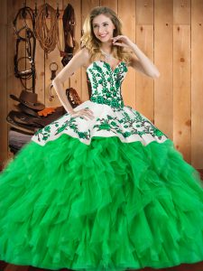 Latest Sleeveless Embroidery and Ruffles Lace Up Quinceanera Dress