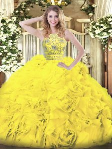 Unique Gold Ball Gowns Halter Top Sleeveless Tulle Floor Length Zipper Beading and Ruffles Sweet 16 Quinceanera Dress