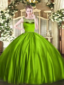 Satin Sleeveless Floor Length 15 Quinceanera Dress and Beading