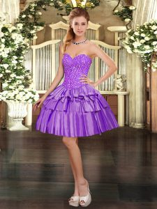 Noble Eggplant Purple Ball Gowns Organza Sweetheart Sleeveless Beading and Ruffled Layers Mini Length Lace Up Evening Dress