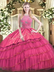 Dramatic Floor Length Hot Pink Vestidos de Quinceanera Satin and Tulle Sleeveless Beading and Embroidery and Ruffled Layers