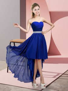 Elegant Royal Blue A-line Beading Bridesmaid Gown Lace Up Chiffon Sleeveless High Low