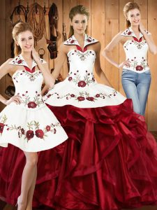 Cute Floor Length Wine Red Quinceanera Dress Organza Sleeveless Embroidery and Ruffles