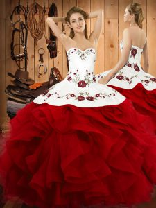 Fantastic Halter Top Sleeveless Ball Gown Prom Dress Floor Length Embroidery and Ruffles Wine Red Satin and Organza