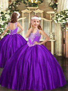 Lovely Purple Lace Up Little Girl Pageant Dress Beading Sleeveless Floor Length