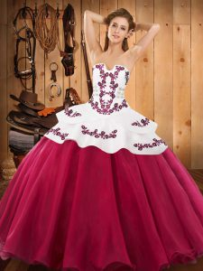 Customized Hot Pink Satin and Organza Lace Up Sweet 16 Dresses Sleeveless Floor Length Embroidery