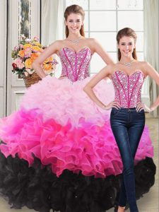 Multi-color Sweetheart Neckline Beading and Ruffles Sweet 16 Quinceanera Dress Sleeveless Lace Up