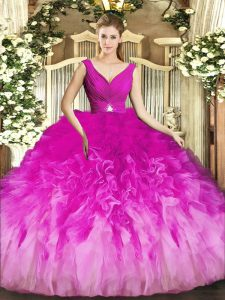 Noble Beading and Ruffles Sweet 16 Dresses Fuchsia Backless Sleeveless Floor Length
