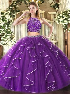 Custom Designed Purple Two Pieces High-neck Sleeveless Tulle Floor Length Zipper Beading and Ruffles Vestidos de Quinceanera