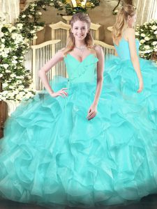 Aqua Blue Ball Gowns Spaghetti Straps Sleeveless Organza Floor Length Zipper Ruffles 15 Quinceanera Dress