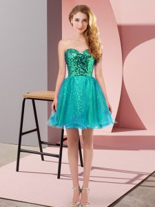 New Style Mini Length Zipper Prom Dress Teal for Prom and Party with Sequins