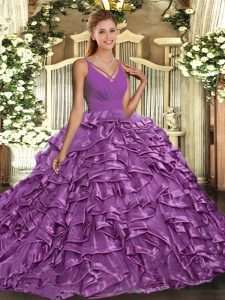 Sleeveless Organza With Train Sweep Train Backless Sweet 16 Dresses in Lilac with Ruffles