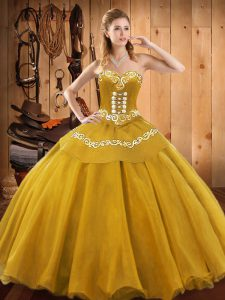 Sweetheart Sleeveless Quince Ball Gowns Floor Length Embroidery Gold Satin and Tulle