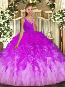 Unique Multi-color Ball Gowns Tulle V-neck Sleeveless Beading and Ruffles Floor Length Backless Quinceanera Dress
