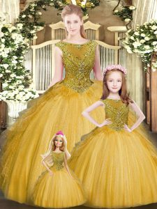 Flare Gold Lace Up Sweet 16 Quinceanera Dress Beading and Ruffles Sleeveless Floor Length