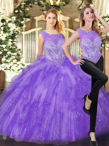 Eye-catching Eggplant Purple Organza Zipper Quinceanera Gown Sleeveless Floor Length Beading and Ruffles
