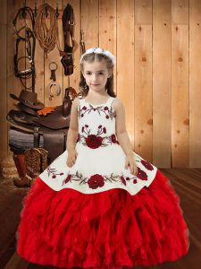 Ball Gowns Little Girl Pageant Dress Red Straps Organza Sleeveless Floor Length Lace Up