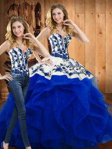 Blue Sleeveless Floor Length Embroidery and Ruffles Lace Up Ball Gown Prom Dress