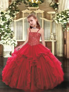 Beautiful Straps Sleeveless Little Girls Pageant Dress Floor Length Beading and Ruffles Red Organza