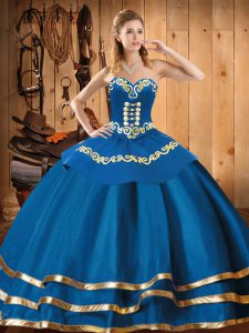 Blue Organza Lace Up Sweetheart Sleeveless Floor Length 15 Quinceanera Dress Embroidery
