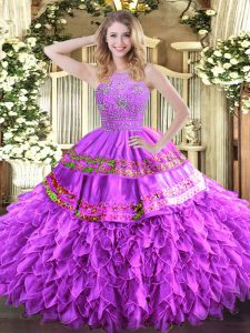 Lilac Ball Gowns Tulle Halter Top Sleeveless Beading and Ruffles and Sequins Floor Length Zipper 15th Birthday Dress