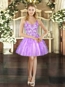 Lilac Straps Neckline Beading and Ruffles Homecoming Dress Sleeveless Lace Up