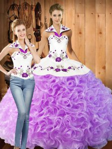 Deluxe Halter Top Sleeveless Quinceanera Dress Floor Length Embroidery Lilac Fabric With Rolling Flowers