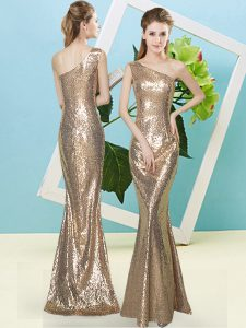 Floor Length Gold Prom Dresses Sequined Sleeveless Sequins