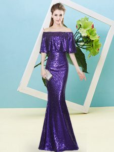 Sumptuous Purple Off The Shoulder Neckline Sequins Dress for Prom Half Sleeves Zipper
