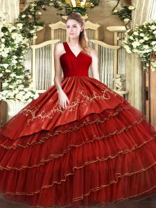 Clearance Wine Red V-neck Neckline Embroidery and Ruffled Layers Sweet 16 Dress Sleeveless Zipper