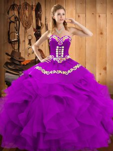 Eggplant Purple Sweetheart Lace Up Embroidery and Ruffles Vestidos de Quinceanera Sleeveless