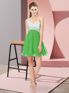 Best Selling Green One Shoulder Criss Cross Beading Prom Dresses Sleeveless