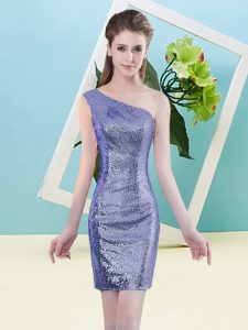 Beauteous Mini Length Zipper Dress for Prom Lavender for Prom and Party with Sequins