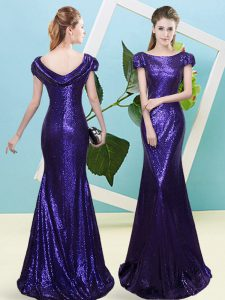 Custom Fit Cap Sleeves Floor Length Sequins Zipper Prom Dresses with Purple