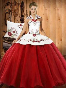 Dramatic Sleeveless Satin and Tulle Floor Length Lace Up Quinceanera Dresses in Wine Red with Embroidery