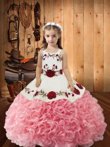 Dazzling Pink Little Girl Pageant Gowns Fabric With Rolling Flowers Sleeveless Embroidery and Ruffles
