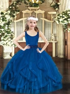 Ball Gowns Evening Gowns Royal Blue Scoop Tulle Sleeveless Floor Length Zipper