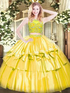 Scoop Sleeveless Zipper Quince Ball Gowns Yellow Tulle