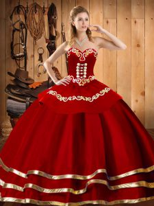 Latest Sleeveless Organza Floor Length Lace Up Quince Ball Gowns in Wine Red with Embroidery