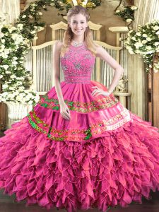 Hot Pink Sleeveless Tulle Zipper Quince Ball Gowns for Military Ball and Sweet 16 and Quinceanera