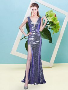 Super V-neck Sleeveless Homecoming Dress Floor Length Sequins Lavender Sequined