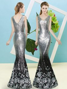 Modest Silver Sleeveless Sequined Zipper Dress for Prom for Prom and Party