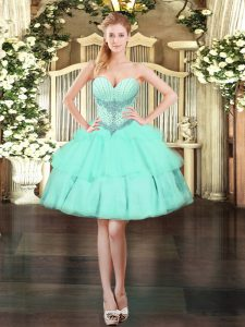 Gorgeous Mini Length Lace Up Homecoming Dress Apple Green for Prom and Party with Beading and Ruffled Layers
