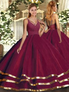 Fashion Burgundy V-neck Neckline Ruching Quinceanera Gown Sleeveless Backless